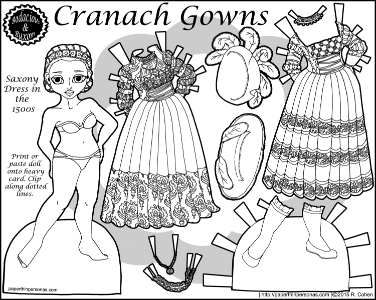 Cranach Gowns, a paper doll of a 15th century Saxony dress in Germany with two gowns, two hats, one pair of shoes in black and white for printing. Free from paperthinpersonas.com