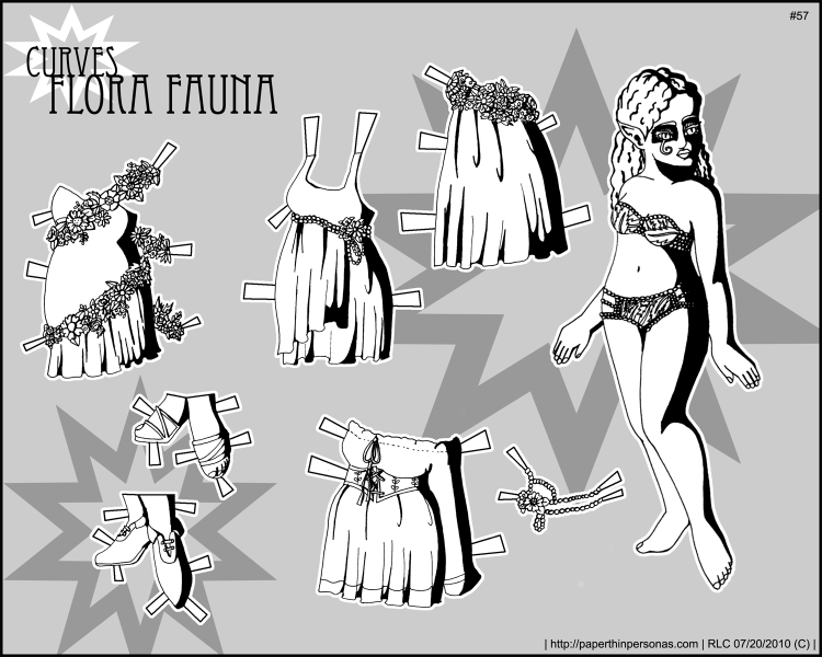 A curvy black and white fairy paper doll with four dresses. From paperthinpersonas.com.