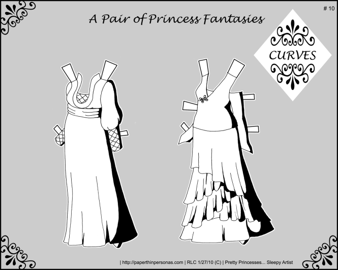 A set of fantasy gowns for my curvy paper doll series. Black and white for coloring.