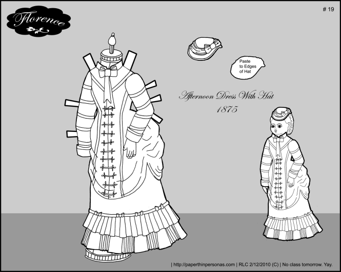 An afternoon dress for Florence, my French fashion doll paper doll.