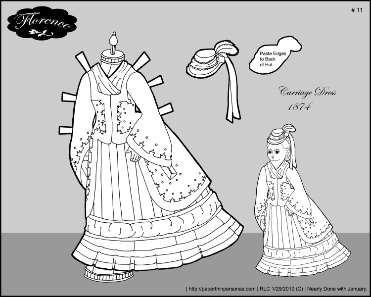 A carriage dress for Florence, my 1870s paper doll. Free to print and color from Paperthinpersonas.com