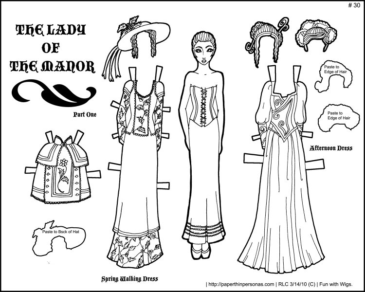 Lady of the Manor- Black and White Printable Paper Doll