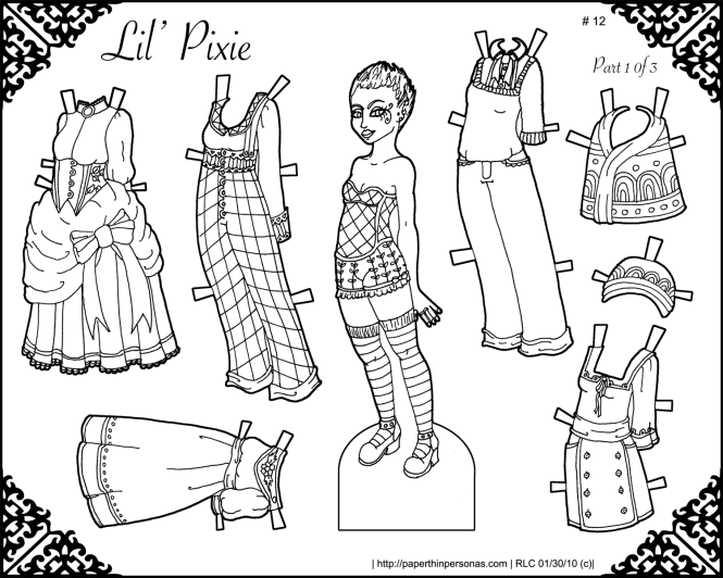 A black and white pixie paper doll with a six piece wardrobe. Free to print and color.