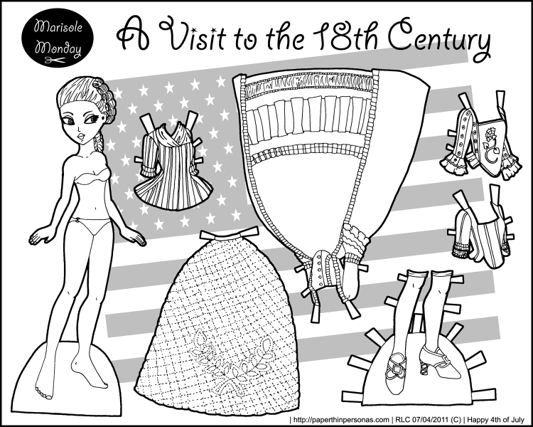 A paper doll coloring page with an 18th century wardrobe free from paperthinpersonas.com.