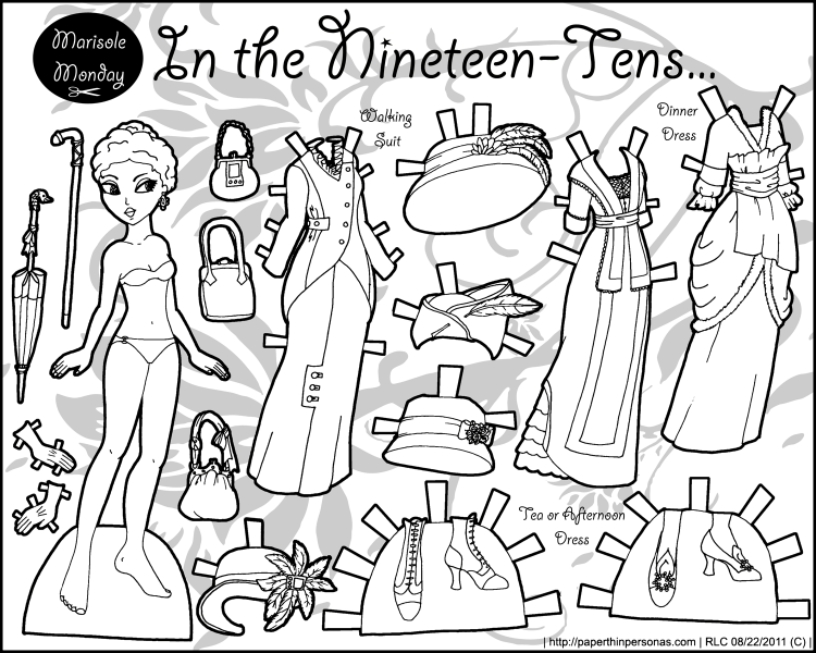 Historical paper doll coloring page with dresses from the 1910s. Free to print from paperthinpersonas.com.
