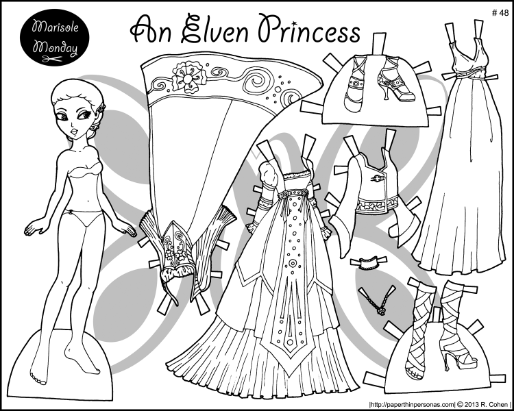 An elf princess coloring page to print and dress up. She's got two gowns, a night gown, shoes and some pointy ears. Free printable paper doll from paperthinpersonas.com.