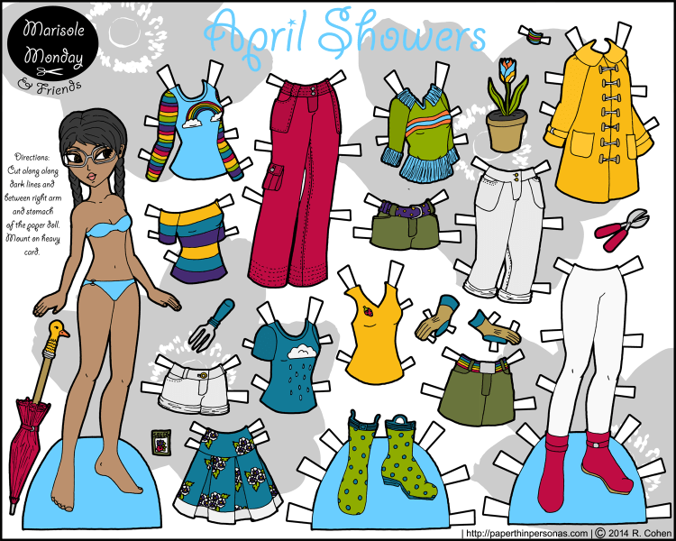 April Showers is a color printable paper doll for kids or adults. She's got 14 clothing pieces, gardening tools and a bright red umbrella. Free from paperthinpersonas.com