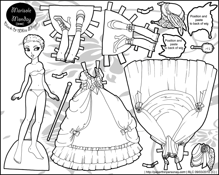 Roccoco Fantasy: Paper Doll in Black and White • Paper