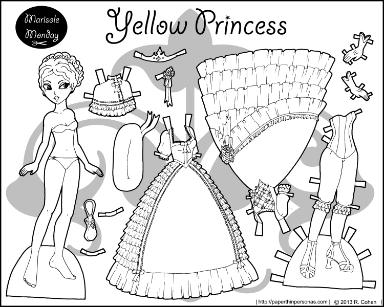 A black and white princess coloring page to print and dress up with two ballgowns, shoes and a crown. She's a free paper doll from paperthinpersonas.com