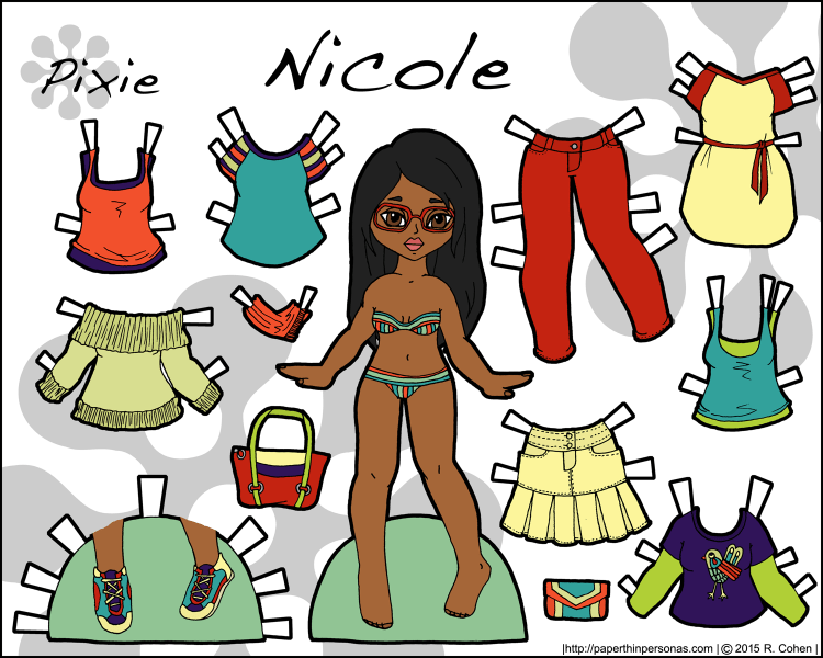 A fashion paper doll named Nicole with nine different clothing pieces. She's got long black hair and red glasses, along with sneakers and jeans. Free to print from paperthinpersonas.com