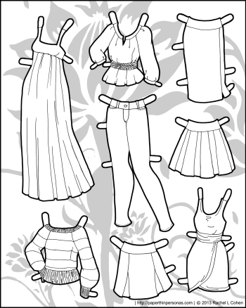 A coloring page of black and white paper doll clothes including a maxi dress, blouse, jeans, sweaters, and a pencil skirt. Free to print and color from Paperthinpersonas.com