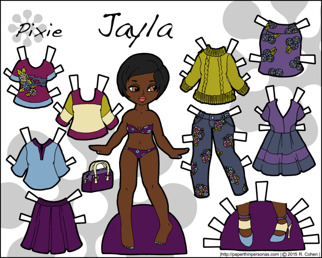 A printable paper doll featuring a young black woman and her fashionable floral wardrobe  in greens and purples. Ten pieces to mix and match. Free to print from paperthinpersonas.com