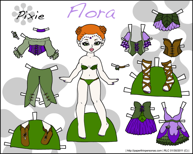 A flower fairy paper doll named Flora with a mix and match wardrobe. From paperthinpersonas.com