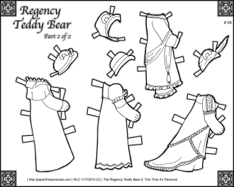 A wardrobe of early 1800s dresses for the Regency teddy bear paper doll including a swimming costume and a riding habit, along with several ball gowns. Free to print and color from paperthinpersonas.com