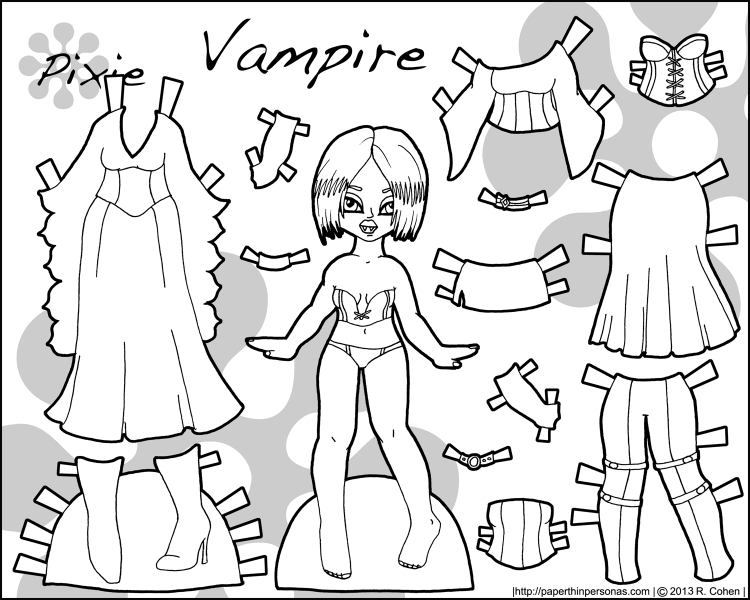 Happy Halloween! Have a Vampire Printable Paper Doll