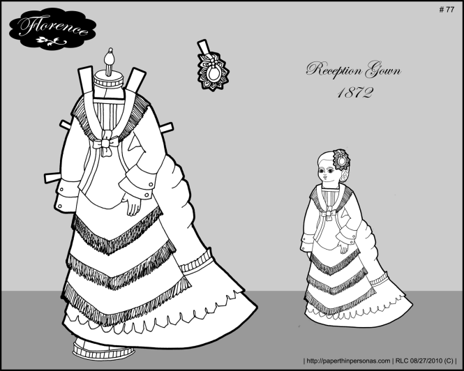 A Victorian reception gown for the Florence printable paper doll.