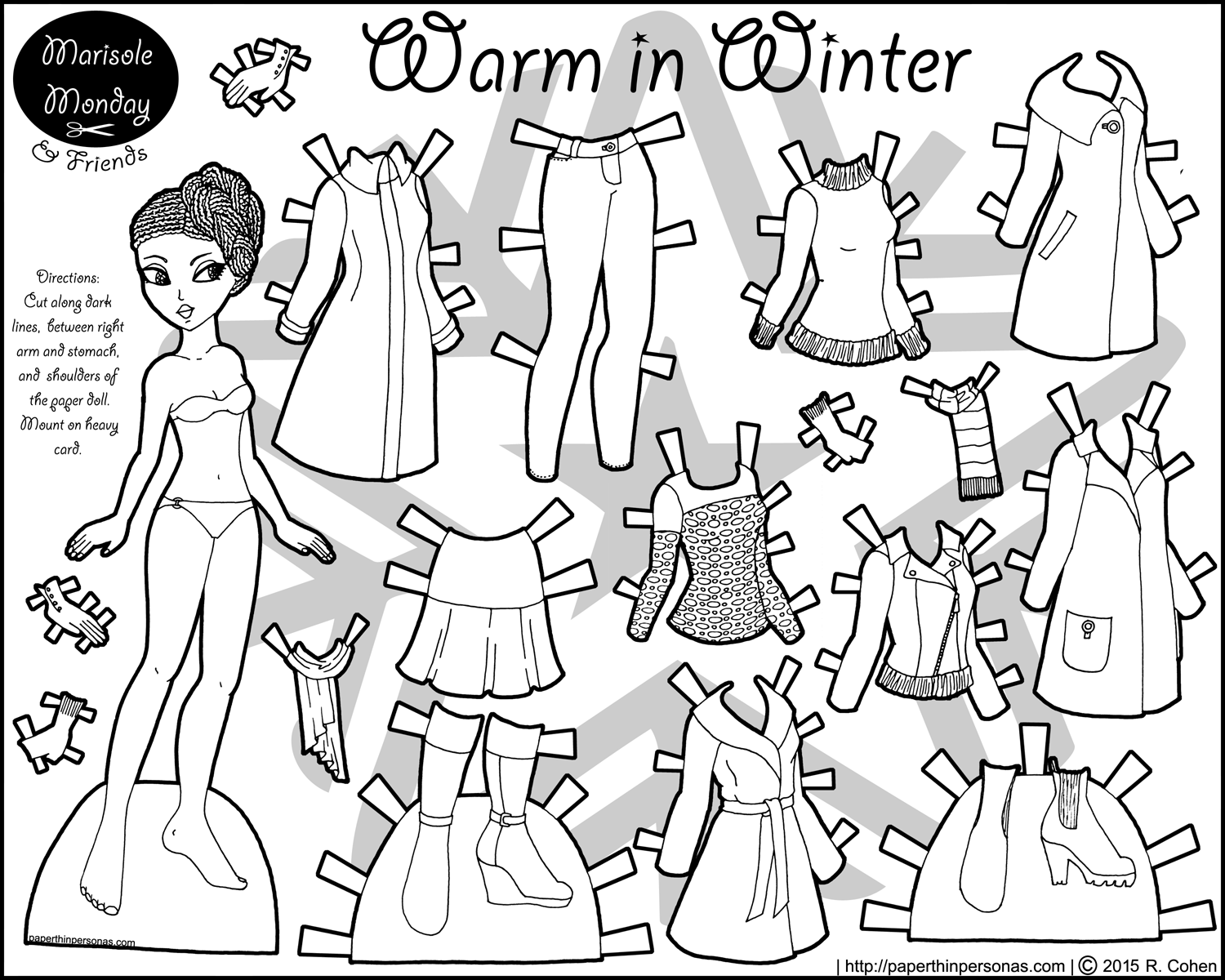 warm in winter african american paper doll coloring page u2022 paper