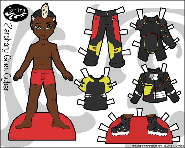 Meet Zachary, the first of my new paper doll series. Zachary is a black paper doll with a cyberpunk style. He's got a five piece wardrobe. Print from paperthingpersonas.com