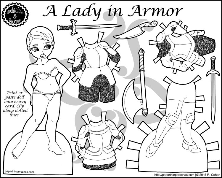 Because girl's sometimes have to rescue their princes, here's a lady knight paper doll with four pieces of mix and match armor, plus plenty of accessories. Free to print and color. From paperthinpersonas.com.