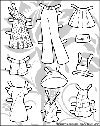 A fashionable set of black and white paper doll dresses and clothing. From paperthinpersonas.com