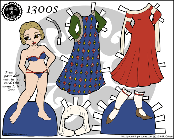 A 1300s fashion paper doll with a five piece wardrobe. Free to print from paperthinpersonas.com.