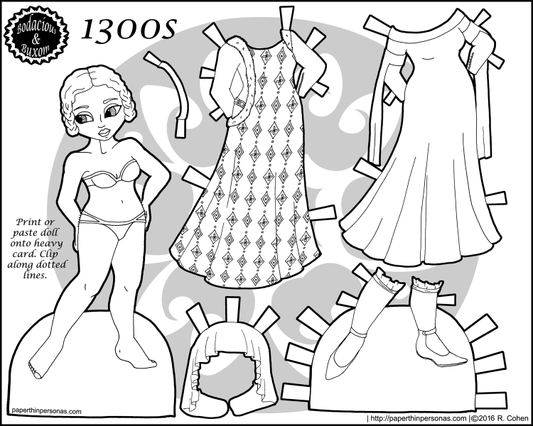 A 1300s fashion paper doll coloring page with a five piece wardrobe. Free to print and color from paperthinpersonas.com.
