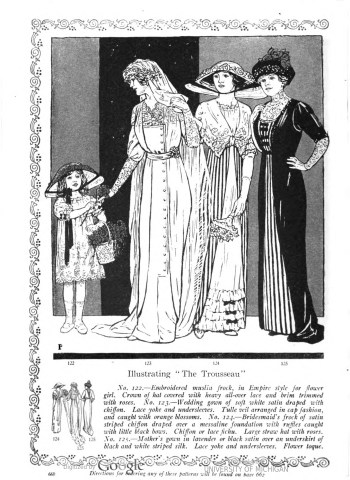 Her Wardrobe Article by Carolyn Trowbridge Radnor-Lewis about a bridal trousseau in 1912. The Bridal party which includes the flower girl, bride, bridesmaid and the mother of the bride in 1912 fashions.