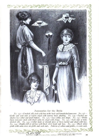 Her Wardrobe Article by Carolyn Trowbridge Radnor-Lewis about a bridal trousseau in 1912. Accessories from 1912.