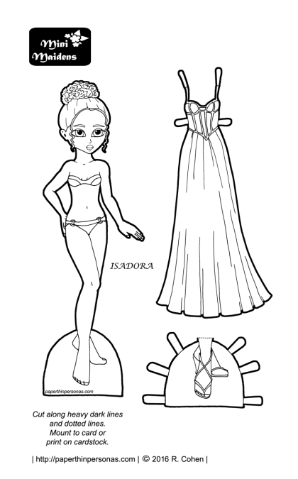 A prom paper doll set including a doll and a prom dress in black and white for coloring.