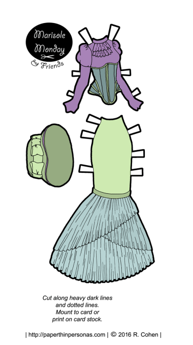 A neo-victorian morning dress or house dress with a hat designed for the Marisole Monday & Friends paper doll series.