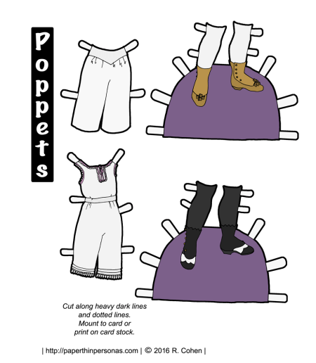 Two pairs of 1860s underwear, shoes and stockings from the 1860s sized for the Poppets paper doll series. Available in black and white as well. Free to print from paperthinpersonas.com.