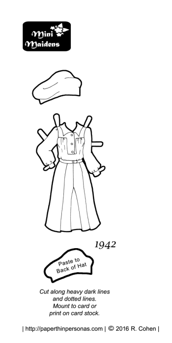 A 1940's paper doll dress with matching beret in black and white for coloring. The dress is based on a 1942 DuBarry pattern design and fits the Mini-Maiden paper doll series.