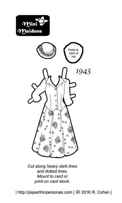 A smart 1943 dress for my 1940s printable paper doll, Hazel. It's free to print and color from paperthinpersonas.com.