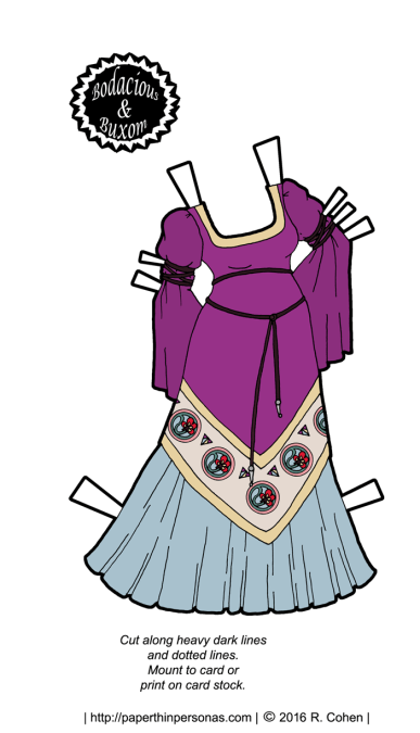 Purple medieval fantasy paper doll dress with a black belt and floral detailing. Free to print from paperthinpersonas.com
