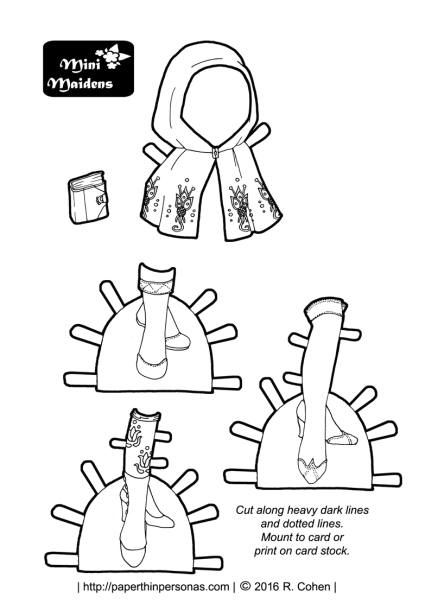 Three pairs of printable paper doll shoes, a cape and a book for the Mini-Maiden paper doll series for coloring