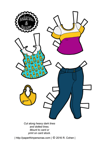 Paper doll clothing pieces- two tops, a purse and a pair of skinny jeans. Designed for the Bodacious & Buxom series.