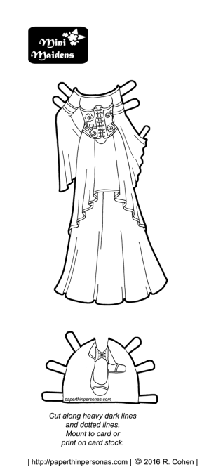 A black and white fantasy gown design to color from the Mini-Maidens. Free to print and color from paperthinpersonas.com
