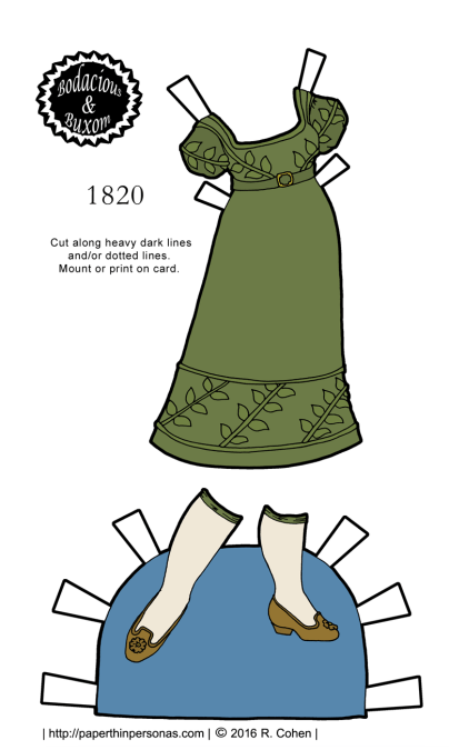 A dress from 1820 for the B&B curvy paper doll series based on a gown from the Philadelphia Museum of Art.