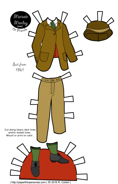 A paper doll men's suit from 1861 featuring a cutaway coat and harvest colors. Free to print from paperthinpersonas.com.