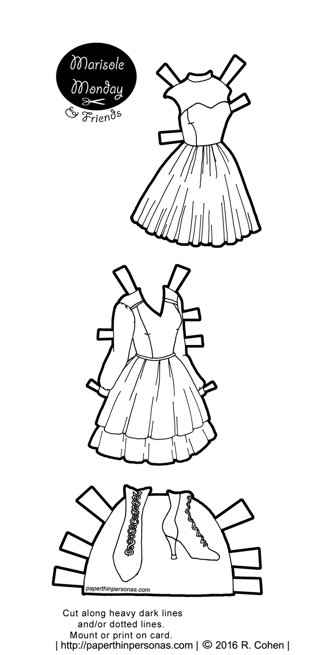 A pair of paper doll cocktail dresses with some Victorian inspired lace up booties. Free to print from paperthinpersonas.com.