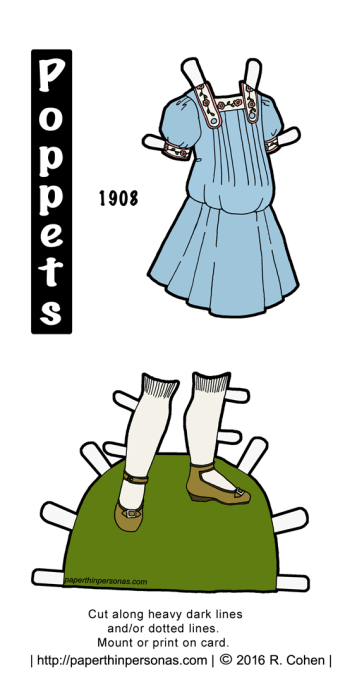 Today the Popper paper dolls are visiting 1908 and get some Edwardian children's clothes and shoes. The paper doll dress can be printed in color or black and white from paperthinpersonas.com.