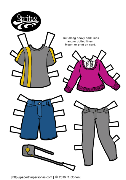 Jean shorts, t-shirt for the guy paper dolls and a sweater with skinny grey jeans for the lady paper dolls. Free to print from paperthinpersonas.com.