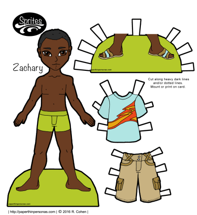 A casually dressed African-American guy paper doll with shorts, sandals and short hair. Part of the Sprites series, he can share clothing with of the other Sprites guys. Free to print in color or black and white.