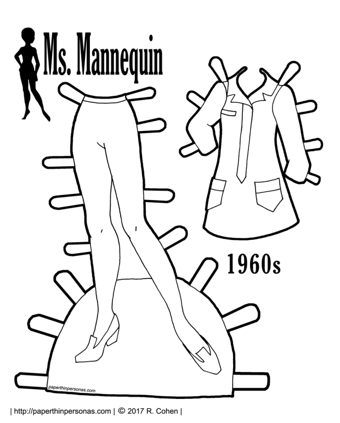 A paper doll template with long wavy hair. She comes with two pairs of shoes and fits any of the Ms. Mannequin paper doll clothing from paperthinpersonas.com.