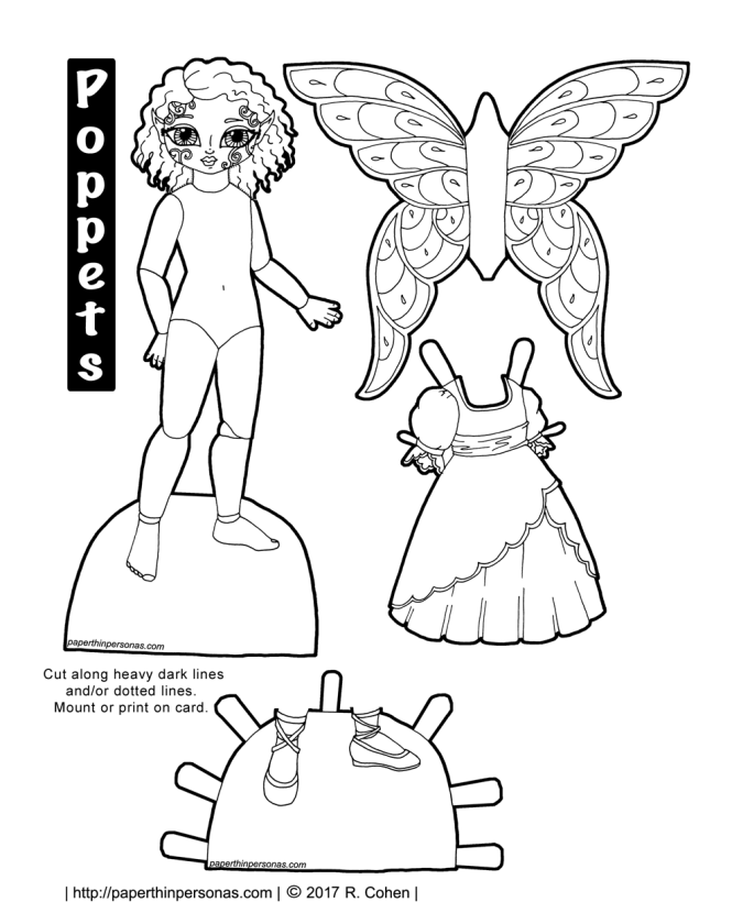 A printable fairy paper doll. Part of the Poppet series and free to print in color or black and white.