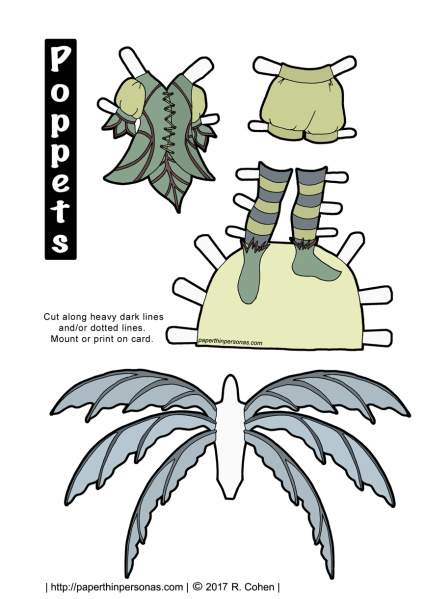 A green and blue fairy paper doll outfit. Free to print in color or black and white.