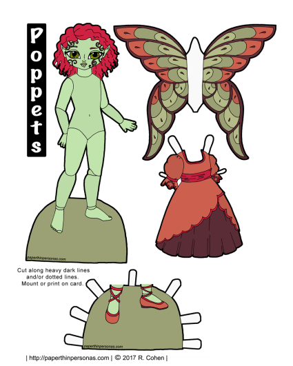 A pink haired, pale green skinned, printable fairy paper doll. Part of the Poppet series and free to print in color or black and white.
