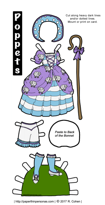 A fun Little Bo Peep activityin the form of a Little Bo Beep printable paper doll costume in color or black and white. Fits any of the Poppet paper dolls.