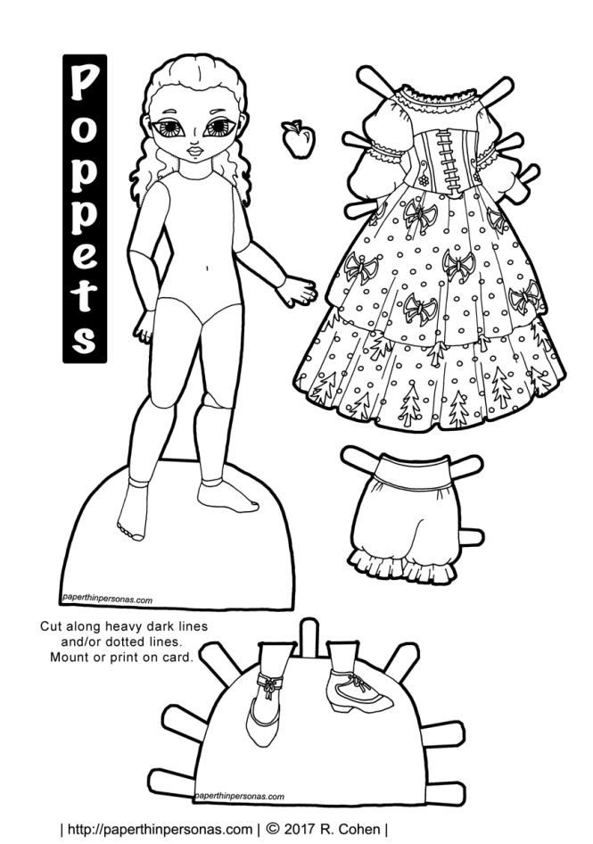 A Snow White paper doll printable with a dress, apple and shoes. Free printable in black and white to color from paperthinpersonas.com.
