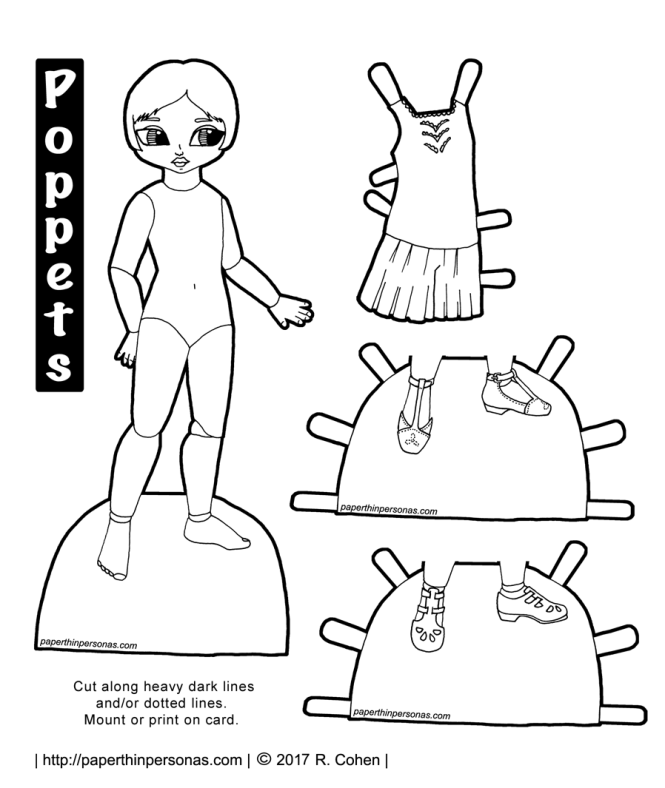 A paper doll coloring page to print with underwear and two pairs of shoes based on 1920s clothing. Free printable in black and white to color from paperthinpersonas.com.